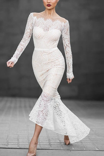 VOKJJ Sexy Fishtail Off-the-shoulder Long-sleeve Lace Dress