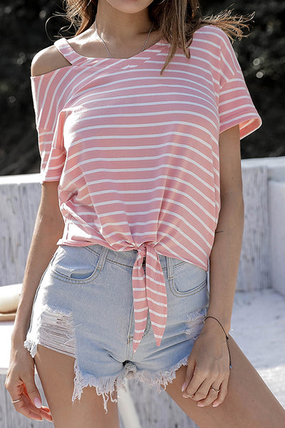 VOKJJ Stripes V-neck Strapless  Irregular Lacing Short-Sleeved T-Shirt - Hellosuitlady