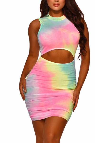 VOKJJ Summer Round Neck Halter Top Tie-dye Dress