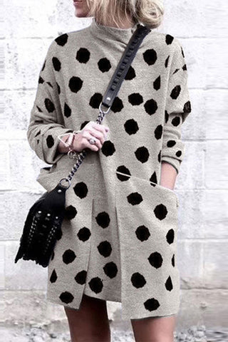 VOKJJ Round Neck Pocket Long Sleeve Dot Print Dress - Hellosuitlady