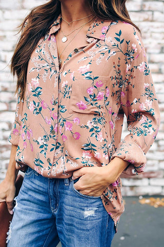 VOKJJ Long Sleeve Printed Lap Button Shirt - Hellosuitlady