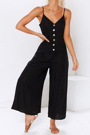 VOKJJ Strap Button Down Jumpsuit - Hellosuitlady