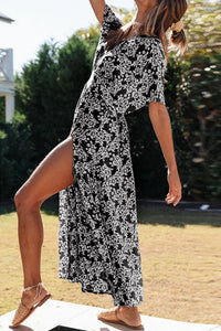 VOKJJ Summer Women's Bohemian Resort Style Deep V Sexy Floral Short-sleeved Dress