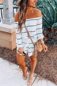 VOKJJ Off The Shoulder Striped Cotton Romper