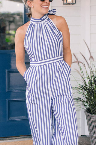 Fashion Casual Off-the-shoulder Lacing Striped  Jumpsuit