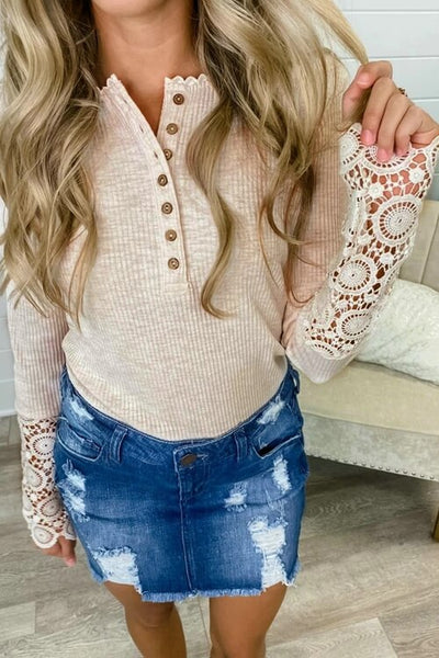 VOKJJ Sexy Solid Color Hollowed Out Lace Top
