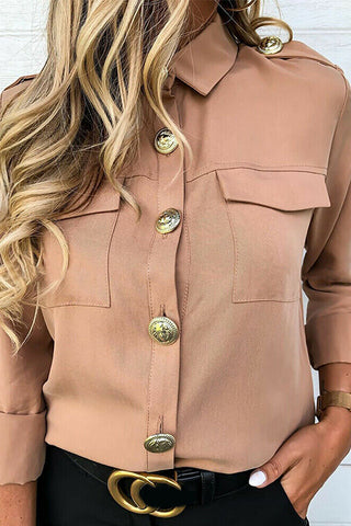 VOKJJ Buttoned Long Sleeve Shirt Top - Hellosuitlady