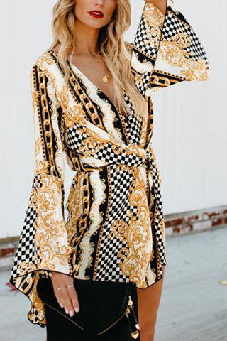 Deep V Printed Flare Long Sleeve Dress
