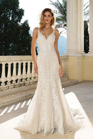 Sequined Embroidered Lace Fit and Flare Gown