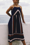 Stripe Print Patchwork Sling Dress