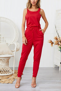 Five-color short-sleeved straps jumpsuit