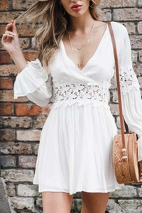 VOKJJ Summer V-Neck Lace Hollow Dress