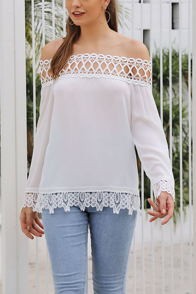 VOKJJ  Stitching Lace Off Shoulder Long Sleeve Shirt - Hellosuitlady