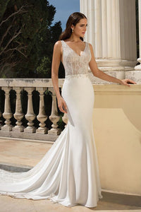 Crepe Beaded Fit and Flare Gown
