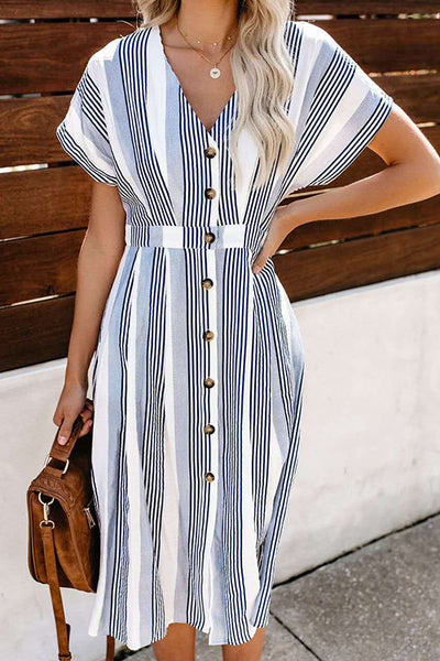 VOKJJ V-neck Striped Print Short-Sleeved Single-Breasted Dress - Hellosuitlady