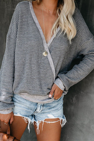 Pullover Top Sexy V-Neck Long-Sleeved Sweater
