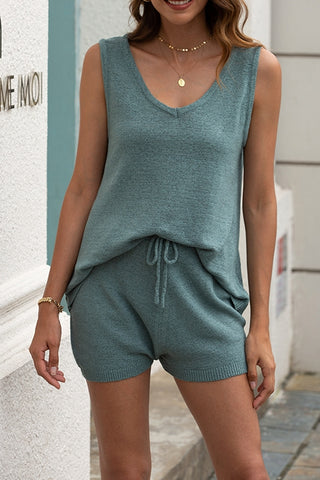 VOKJJ Beach Knit Suit Casual V-neck Vest Loose Shorts Two-piece Suit