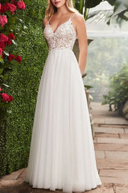 VOKJJ V-neck Lace Wedding Dress - Hellosuitlady