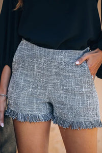 Cotton Blend Pocketed Tweed Fringe Shorts