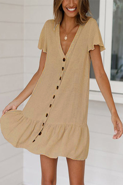 VOKJJ Single-breasted Deep V-neck Cotton Hemp Dress - Hellosuitlady