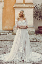 VOKJJ  Flower Embroidery Lace Wedding Dress - Hellosuitlady