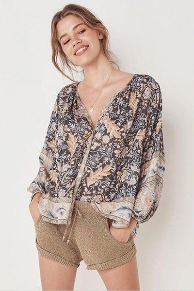 VOKJJ Printed Blouse Boho Long Sleeve V-neck Shirt - Hellosuitlady