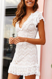 VOKJJ Lace V neck White Ruffle Skirt Women's Dress