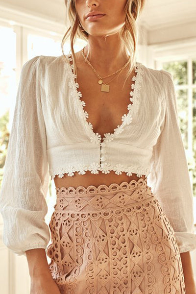 VOKJJ  Deep V-Neck Long Sleeve Lace Button Cropped Cropped Top - Hellosuitlady