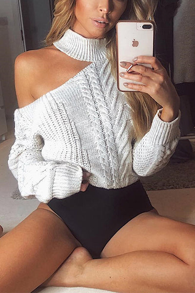 VOKJJ Neck Strapless Irregular Long Sleeve Sweater - Hellosuitlady
