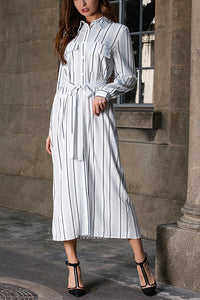 VOKJJ Long Sleeves With Striped A-line Skirt - Hellosuitlady