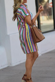VOKJJ Multicolor Stripe Shirt Dress - Hellosuitlady
