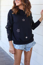 VOKJJ Long Sleeve Round Neck Printed T-shirt Five-pointed Star Sweater - Hellosuitlady