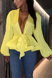 Fluorescent Color With Deep V-neck Lantern Sleeves Top