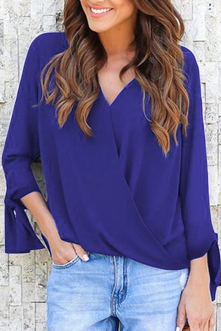 VOKJJ Solid Color V-Neck Long Sleeve Loose Shirt - Hellosuitlady