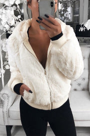 Zip Hooded Plush Coat Top - Hellosuitlady