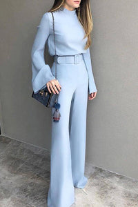 VOKJJ Solid Color Belt Jumpsuit