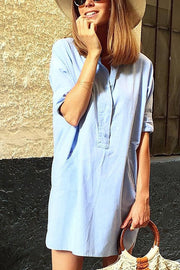 VOKJJ Button Short-Sleeve Denim Dress - Hellosuitlady