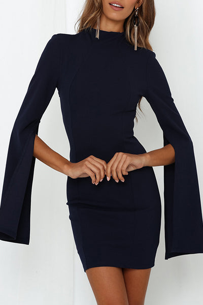 VOKJJ High Neck Slit Long Sleeve Hip Skirt Dress - Hellosuitlady