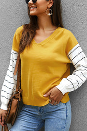 VOKJJ Long Sleeve Sweater With Contrast Top - Hellosuitlady