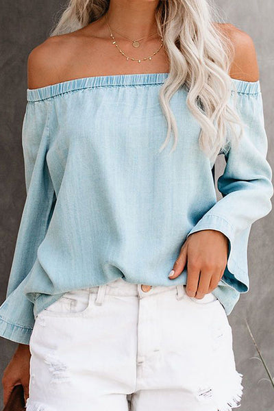 Strapless Collar Long-Sleeved Denim Shirt