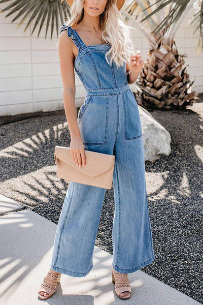 VOKJJ Strap Denim Jumpsuit