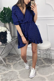 VOKJJ Summer Hot Sexy V-neck Ruffled Dot Dress