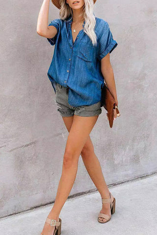 VOKJJ V-neck Short-sleeved Solid Denim Shirt - Hellosuitlady