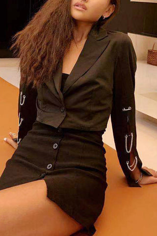 VOKJJ Long Sleeve Chain Short Suit Collar With A Button Blazer - Hellosuitlady