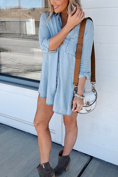 Autumn Button Denim Long Sleeve Shirt