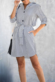 VOKJJ Loose Belt Long Sleeve Striped Dress - Hellosuitlady