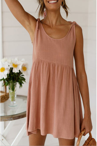 Cheap Cute Round Collar Slip Pleated Dress