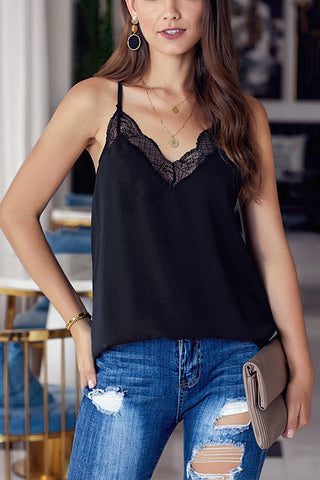V-neck lace sling shirt