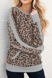 VOKJJ Pocket Round Neck Leopard Print Long-sleeved Top - Hellosuitlady