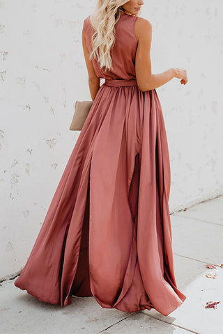 VOKJJ Solid Color V-neck Sleeveless High Slit Hem Dress - Hellosuitlady